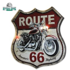 Illuminated Bar Sign - Vintage-Style Route 66 Sign with Motorcyle - LED Headlamps, Taillights
