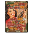 Wife Will Sell Guns Tin Sign - Embossed Features, Weatherproof Finish, Rolled Edges, Pre-Punched Mounting Holes