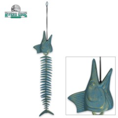 """Marlin Windchime - Fish-Shaped Brass Chimes with Antiqued Verdigras Finish - 14"""""""