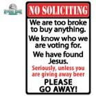 No Soliciting Go Away Tin Sign
