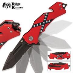 Confederate Flag Folding Pocket Knife