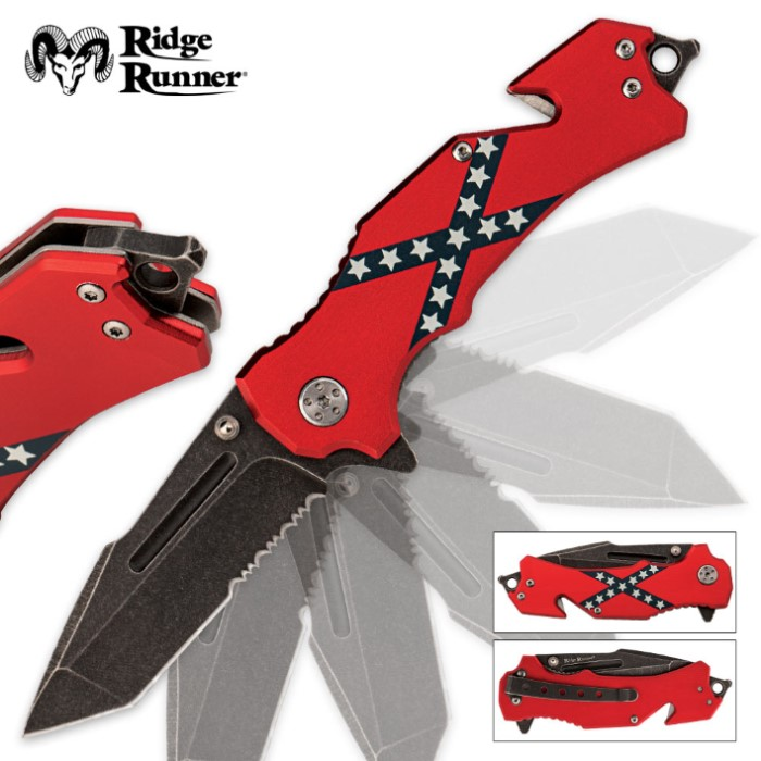 Confederate flag folding pocket knife budk com knives amp swords at