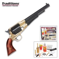 Traditions Firearms Colt 1858 Army Revolver with Redi-Pak - Working Replica / Functional Handgun - .44 Caliber Muzzleloader / Black Powder Pistol - Includes Everything Needed to Shoot (Except Powder)