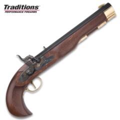 "Kentucky Classic Muzzleloading Pistol – Blued Barrel, Hardwood Stock, 50 Caliber, Percussion Ignition – Length 15"""