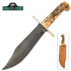 Bear & Son India Stag Damascus Bowie Knife with Genuine Leather Sheath