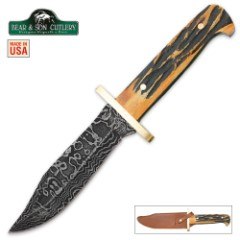 Genuine India Stag Bone Baby Damascus Bowie Knife