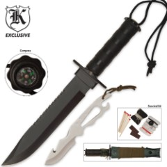 MIA Survival Knife & Skinning Knife Combo with Survival Kit & Sheath