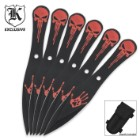 6 Pack Skull Professional Throwing Knives Set