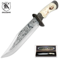 Majestic Elk Fixed Blade Knife with Display Box