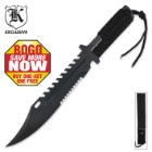Cord Wrapped Double Serrated Survival Fixed Blade Knife - BOGO