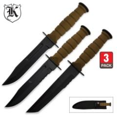 Marine Warrior Triple Knife Set
