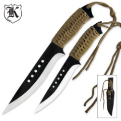 Two Piece OD Green Cord Wrapped Throwing Knife Set With Sheath
