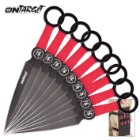 On Target 9-Piece Black And Red Throwing Knife Set