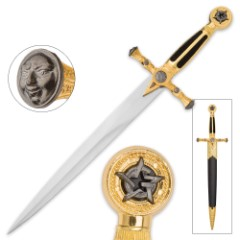 Medieval / Masonic Star of Destiny Dagger with Scabbard - Black