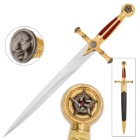 "Masonic ""Star of Destiny"" Medieval Dagger with Scabbard - Red"