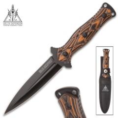 Delta Defender Fireborn Combat Dagger with Nylon Sheath - Flameburst G10 Handle Scales