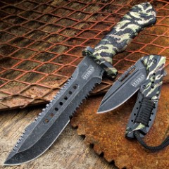 SOA Veteran Tribute 2-Piece Knife Set - Bowie Fixed Blade, Assisted Opening Folder Pocket Knife - 3Cr13 Stainless Steel - Vintage Jungle Camo - Glass Breaker - Serrations - Proudly Served Laser Etched