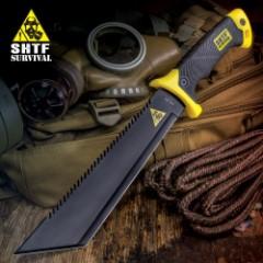 SHTF Jungle Hunter Tanto Machete with Nylon Sheath | Serrated Spine | Includes Fire Starter