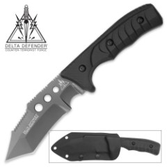Delta Defender Oblivion Fixed Blade Knife with Kydex Sheath - Tactical Tanto with Titanium Finish