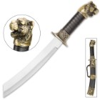 Growling Tiger Fantasy Dagger And Scabbard – Stainless Steel Blade, Faux Leather Wrap, Brass Look Collectible – Length 13 1/2""