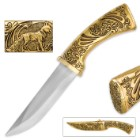 Golden Wolf Hunting Lodge Knife