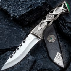 Twisted Celtic Dagger With Sheath - Stainless Steel Blade, Solid Steel Handle, Faux Emerald Accent - Length 10""