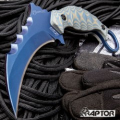Blue Raptor Karambit With Sheath - 3Cr13 Stainless Steel, Titanium Coated, G10 Handle Scales, Open-Ring Pommel - Length 8 1/4""