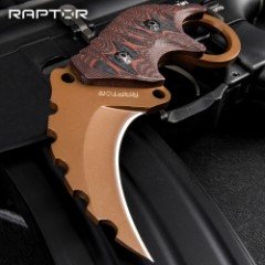 """Raptor Junior Rusted Earth Karambit Knife - 3Cr13 Stainless Steel Blade, Titanium Finish, G10 Handle Scales - Length 5 1/2"""""""