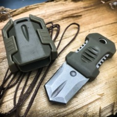 """SHTF Tactical MOLLE Shiv - Stainless Steel Blade, Rubber Overmolded Handle, Plastic Webbing Adapter, Lanyard Hole - 2 1/2"""" Length"""