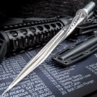 Grey Titanium Spiral Dagger With Sheath - Stainless Steel Construction, Quad-Edged Blade, Hidden Compartment - Length 16 1/2""