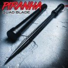 Black Piranha Tooth Dagger With Pipe Sheath - Stainless Steel Quad-Edged Blade, Aluminum Handle, Lanyard Cord - Length 16 3/4""