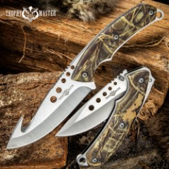 Duck Hunter Duo Knife Set With Sheath - Stainless Steel Blades, TPU Camo Printed Handle Scales, Lanyard Holes