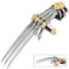 Tomahawk Wolf Claw Gauntlet - Stainless Steel Blades, Cast Metal Skeleton Hand, Faux Leather Wrist Strap - Length 17""