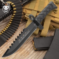 SOA One Shot, One Kill Night OPS Knife And Sheath - 3Cr13 Stainless Steel Blade, Non-Reflective Finish, Fiber-Filled Poly And TPR Handle