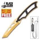 Black Legion Gold Tactical Neck Knife With Sheath - BOGO