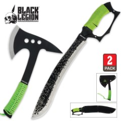 Black Legion Undead Apocalypse Machete & Axe 2 Piece Set