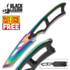 Black Legion Rainbow Titanium Tactical Neck Knife With Molded Sheath - BOGO