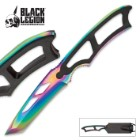 Black Legion Rainbow Titanium Tactical Neck Knife With Molded Sheath