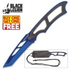 Black Legion Metallic Blue Tactical Neck Knife with Molded Sheath - BOGO