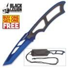 Black Legion Metallic Blue Tactical Neck Knife with Molded Sheath - BOGO
