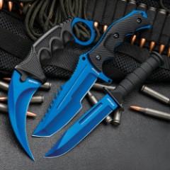Black Legion Atomic Blue Triple Set - Karambit / Huntsman / Military Knives