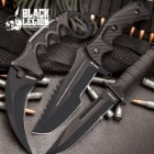 Black Legion Midnight Black Triple Set - Karambit / Mini Huntsman / Military Fixed Blade