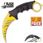 "Black Legion Yellow Tiger Stripe Karambit With Heavy-Duty Sheath And Lanyard - Textured Handle - 7 1/2"" Length - BOGO"