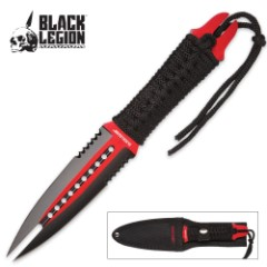 Black Legion Serpent's Tongue Double Edged Twin Point Dagger – Red and Black