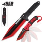 Black Legion Red Guardian Tanto Fixed Blade and Assisted Opening Pocket Knife Set - Metallic Red
