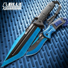 Black Legion Blue Guardian Tanto Fixed Blade and Assisted Opening Pocket Knife Set - Metallic Blue