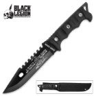 "Black Legion ""Liberty or Death"" Fixed Blade Knife with Nylon Sheath - Black Handle"