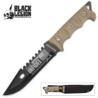 "Black Legion ""Proud American Infidel"" Fixed Blade Knife with Nylon Sheath - Tan Handle"