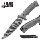 Black Legion Black Camo Urban Hunter Fixed Blade Knife