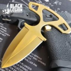 Black Legion Shadow Dagger with Nylon Sheath | Push Dagger | Gold Titanium Finish